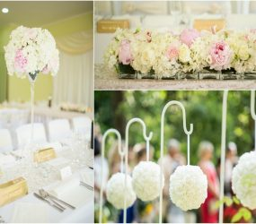 Bledoružová kvetinová výzdoba pivonky a hortenzie
