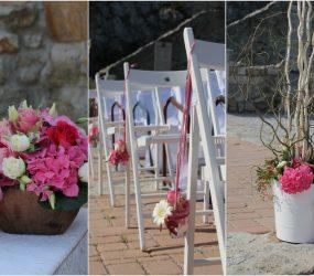 Kvetinová svadobná výzdoba v exteriéri