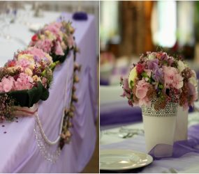 Fialová svadobná výzdoba a dekorácie Pretty Wedding