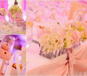 Ružová svadobná dekorácia