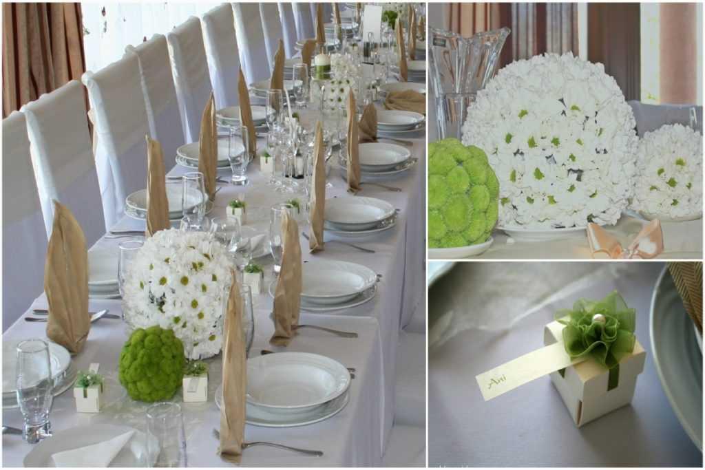 Zeleno biela výzdoba kvetinové gule