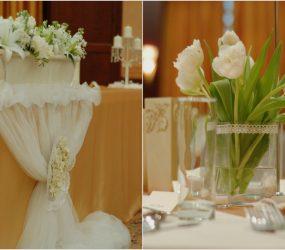 Zlatá svadobná dekorácia