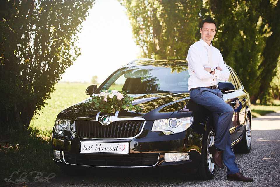 Výzdoba svadobného auta Nové Zámky