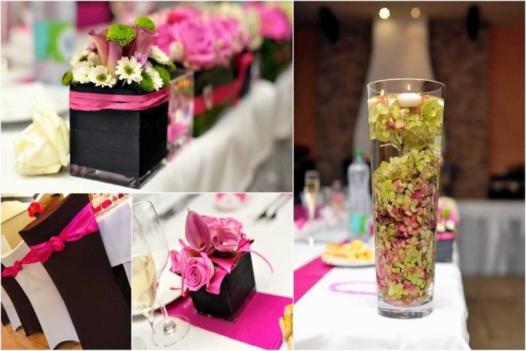 Ružové svadobné dekorácie